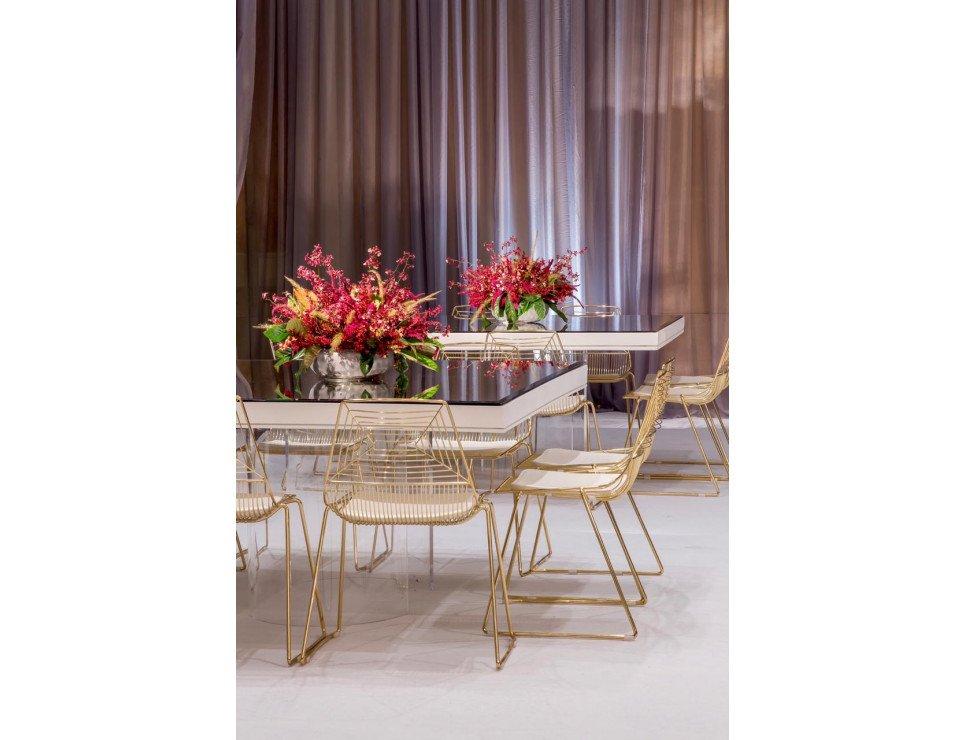 Mesa com tampo de espelho e Cadeiras Tokyo