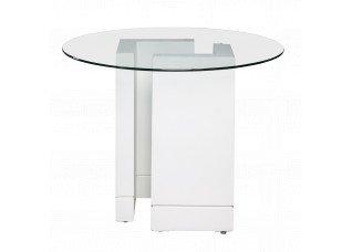 Base Elle Branca com Tampo de Vidro Transparente