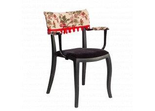 Cadeira Duomo com Braço com encosto floral e  pingente vermelho