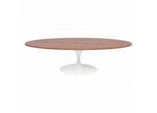 Mesa Centro Saarinen Branco com Tampo Oval de Madeira