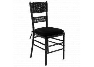 Cadeira Itália Ônix com encosto palha